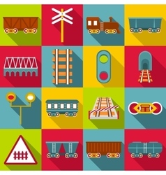 Railroad station items icons set flat style vector