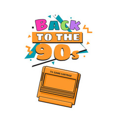 back to the 90s poster template with tv game vector image