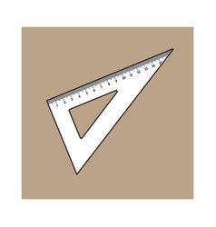 Simple hand drawn plastic angle ruler office vector