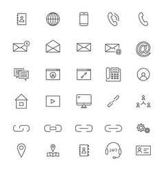 30 line contact icons vector image vector image