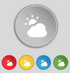 Weather icon sign symbol on five flat buttons vector