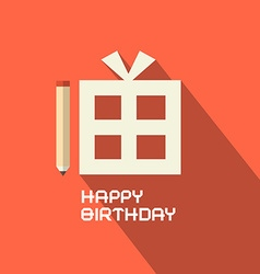 Flat design happy birthday with gift box vector