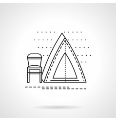 Camping tent flat line icon vector