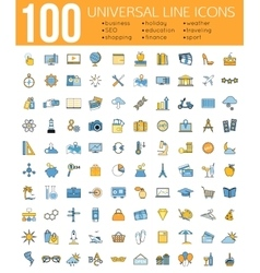 Set of 100 minimal universal line icons business vector