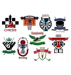 Sport games emblems and symbols for t-shirt design vector image
