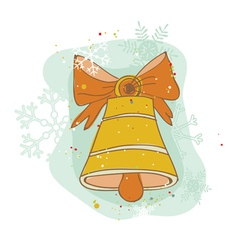 Vintage christmas bell card - for scrapbook design vector