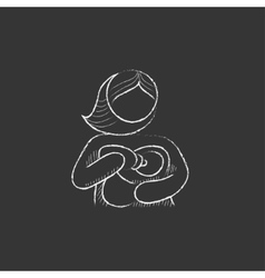 Woman nursing baby drawn in chalk icon vector