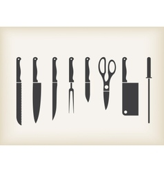 Icons of kitchen knifes vector