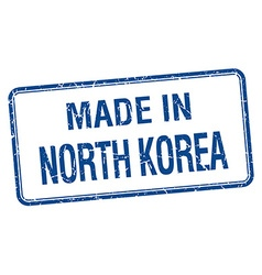 Made in north korea blue square isolated stamp vector