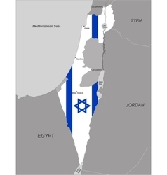 Map of israel with national flag vector