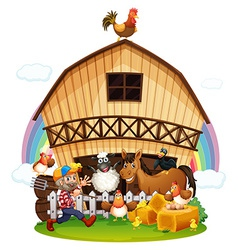 A farm with farm animals vector image vector image