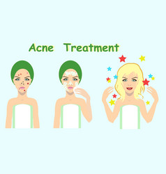 acne treatment before after skin problem solution vector image vector image