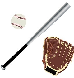 Baseball glove ball and bat vector image