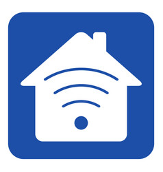 Blue white information sign - house with signal vector