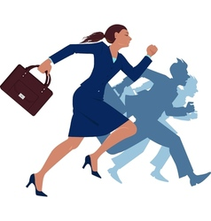 Businesswoman running competing with men vector