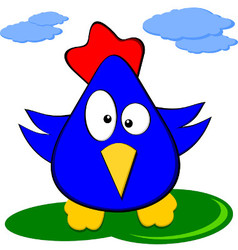 Cartoon Funny Blue Chicken - Comics Character vector image