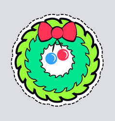 Christmas green wreath with red bow and ribbon vector