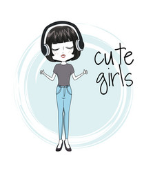 Cute girl with headphones vector