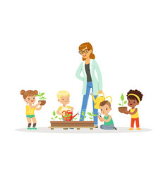 cute girls and boys help their teacher to care for vector image vector image