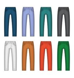 Denim jeans different colors set vector