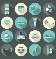 Fitness icons set flat design vector
