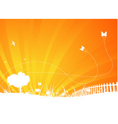 garden background with butterflies and swallows vector image