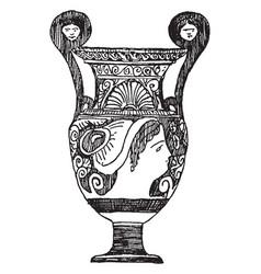 Greek vase was made in apulia vintage engraving vector