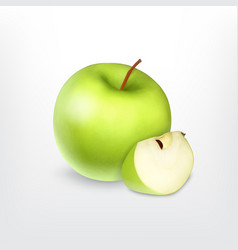 Green apple with slice vector