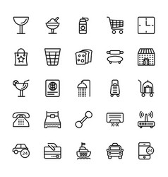 Hotel line icons 8 vector