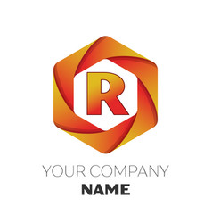 Letter r logo symbol on colorful hexagonal vector