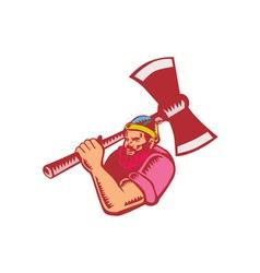 Lumberjack axe woodcut vector
