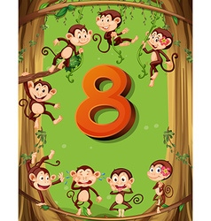 Number eight with 8 monkeys on the tree vector image vector image