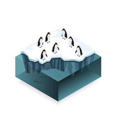 penguins on ice in the open sea isometric concept vector image