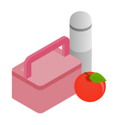 Pink lunch box red apple and thermos icon vector