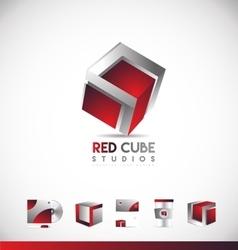 Red cube 3d logo icon design vector
