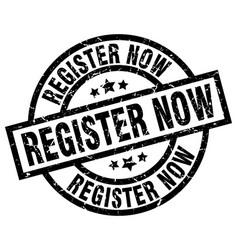 Register now round grunge black stamp vector