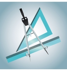 Ruler and compass of education concept vector image