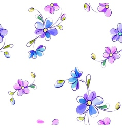 Seamless white pattern with flowers vector image