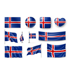 set iceland flags banners banners symbols flat vector image vector image