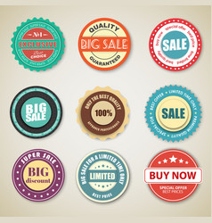 set of retro stickers tags stamps for sale vector image