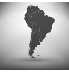 South america map with shadow on gray background vector