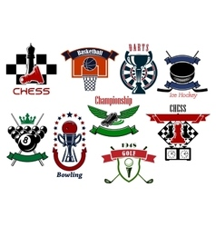 Sport games emblems and symbols for t-shirt design vector image