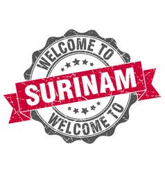 Surinam round ribbon seal vector
