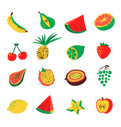 tropical exotic fruits set cute fresh organic vector image vector image