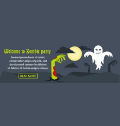 Welcome to zombie party banner horizontal concept vector