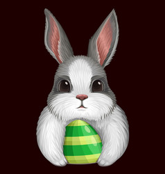White bunny with egg isolated on dark vector