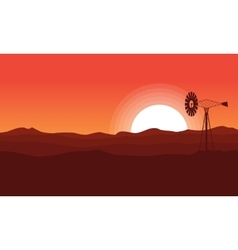 WIndmill on desert of landscape vector image vector image