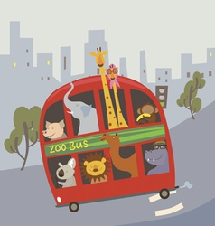 With cartoon animals in the bus vector