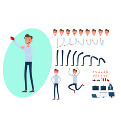young man character creation set for animation vector image