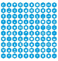 100 vegetarian cafe icons set blue vector